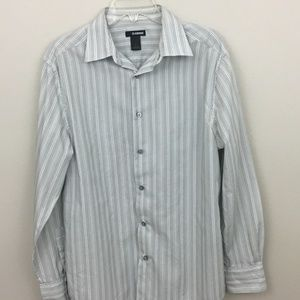 Claiborne Gray and White Dress Shirt